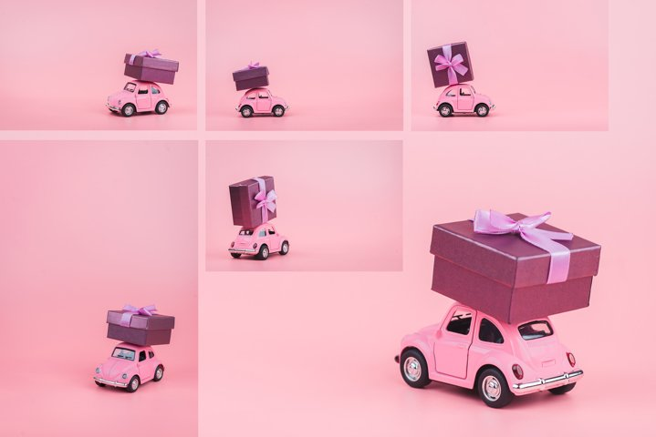 Photo series 6 retro toy car on a pink background