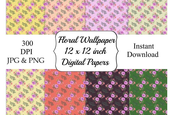 Watercolor Flower Pattern Background Scrapbook Paper 12 x 12