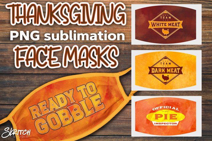 Sublimation Thanksgiving Face Mask Set - 4 Colorful PNGs