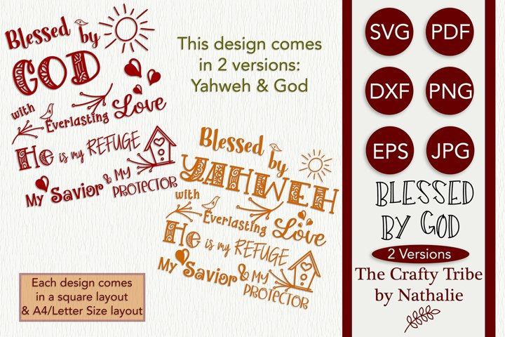 Blessed By God Yahweh SVG Cut Files Vector PNG 2 Versions