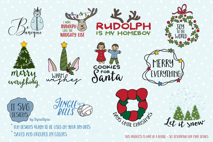 Fun Christmas SVG Bundle - Unicorn SVG, Christmas Tree