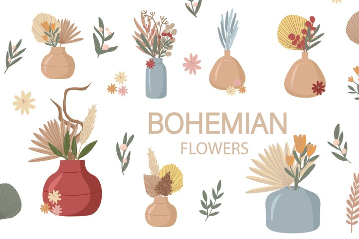 Boho clipart. Boho flowers vector set