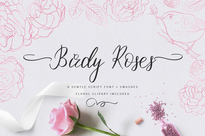 Birdy Roses | Script font and Swashes