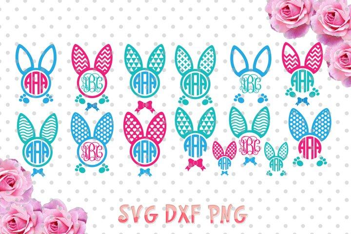 Easter bunny ears Monogram Frames Svg cutting file, bunny ears SVG, DXF, Cricut Design Space, Silhouette Studio,Digital Cut Files