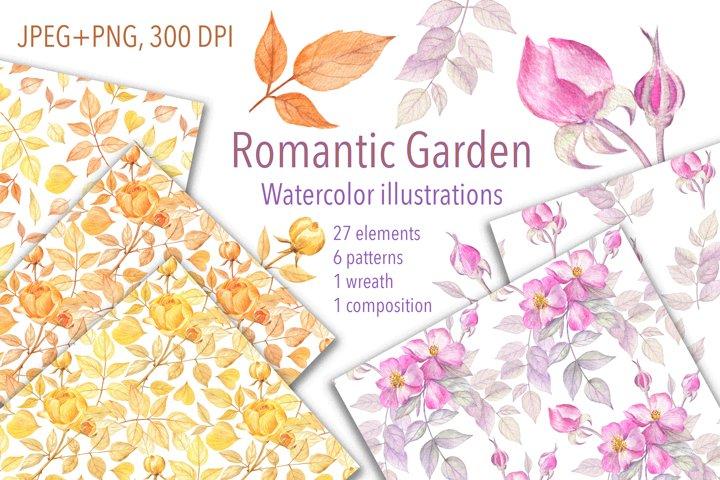 Romantic Garden. Watercolor roses clipart. JPEG, PNG