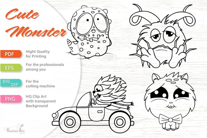 4 Cute Monsters - Cut File for Crafter