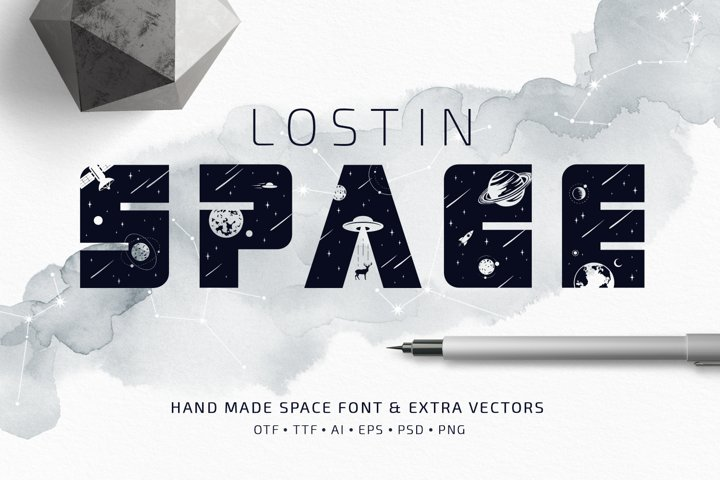 Lost In Space. Color Font - SVG