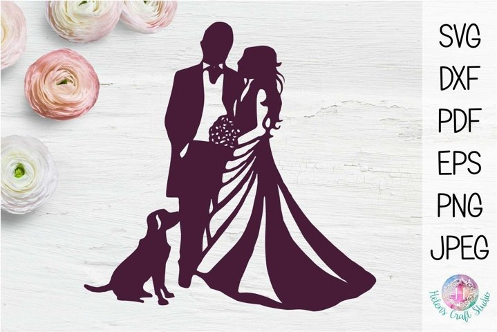 Bride and Groom Wedding Silhouette wth dog