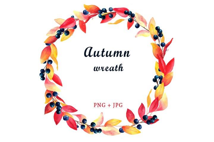 Watercolor autumn wreath clipart