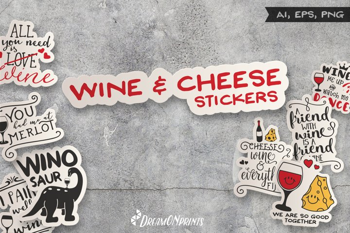 Wine and Cheese Stickers