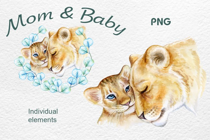 Lions. mum and baby. Lion cub. Lion Family. Watercolor