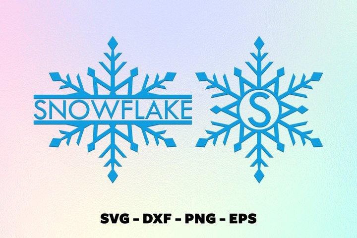 Christmas snowflake monorgam frame svg, Cricut projects