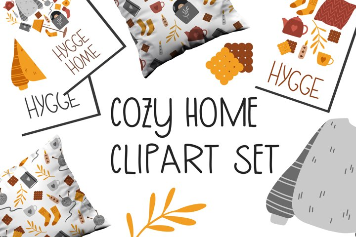 Cozy home clipart set - 15 hand drawn elements