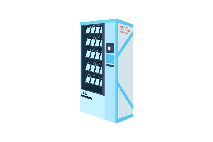 Plastic masks vending machine flat color vector objects