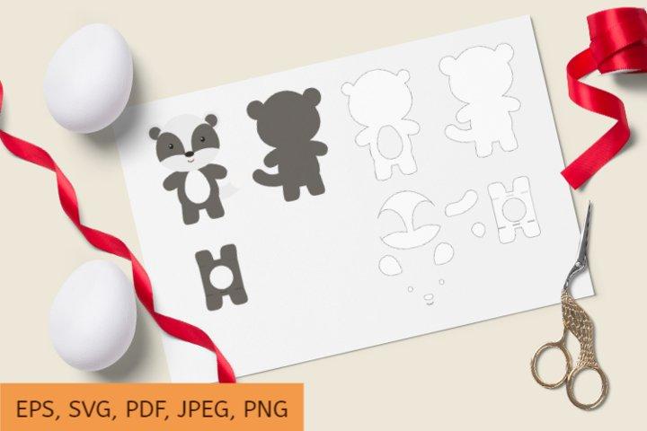 Cute Badger Chocolate Egg Holder Design, SVG Cutting File