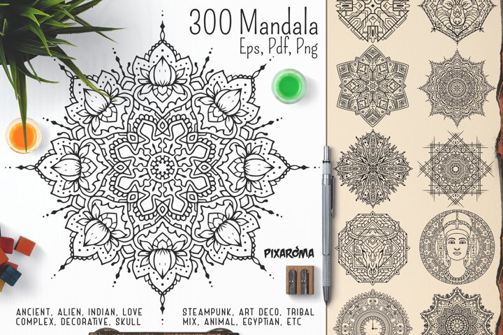 300 Vector Mandala Ornaments