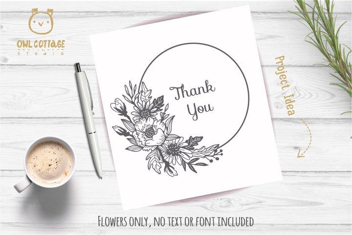 Flower Wreath SVG, Flower monogram svg example 3