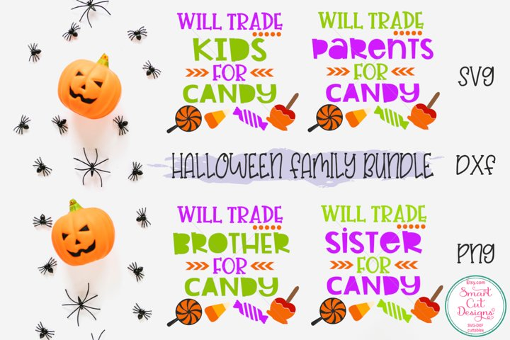 Halloween Family Bundle SVG, Sister, Brother, Mom, Dad, Baby