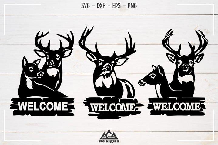 Deer Reindeer Welcome Sign Svg Design