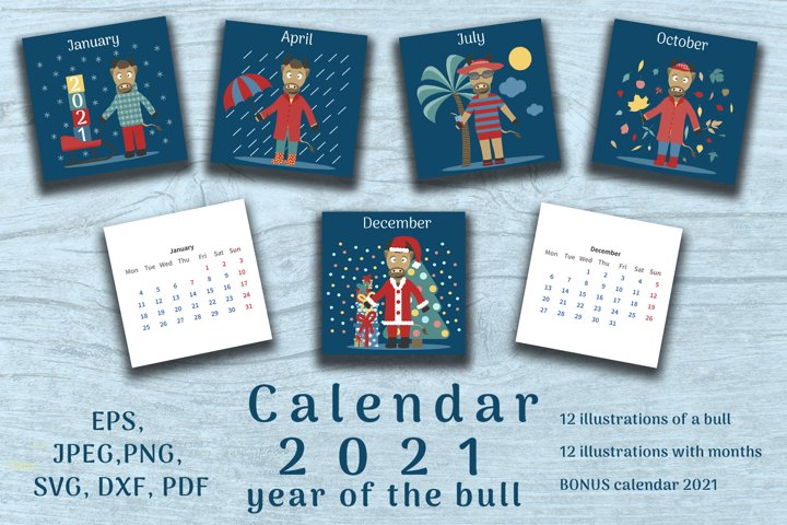 Bull set. Calendar 2021 year. 24 cards plus bonus calendar.
