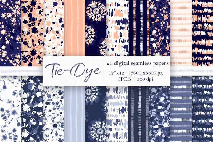 20 Tie-Dye Digital Papers, Seamless Patterns