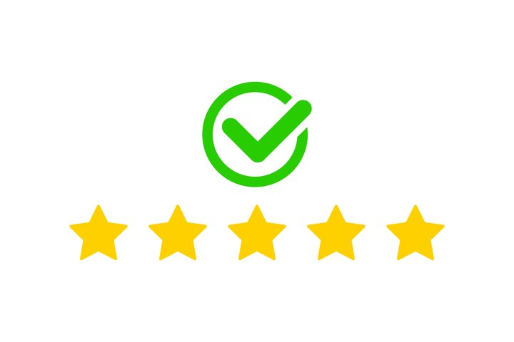 Product ratings, five stars with check mark or golden star
