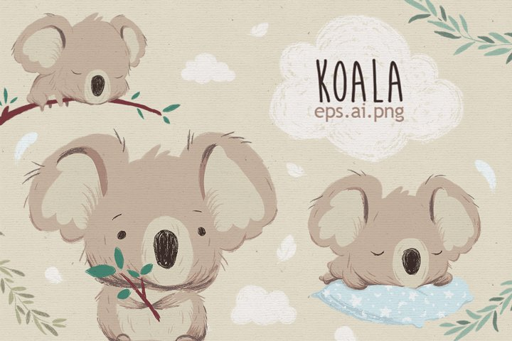 Cute koala set