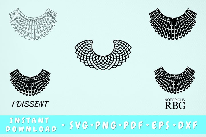 RBG Collar Svg Bundle, 5 Designs, Dissent Collar SVG