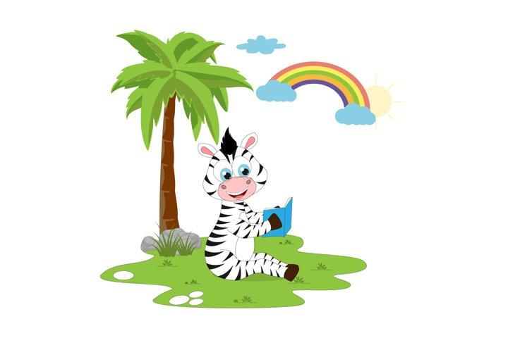 cute zebra cartoon reading a book