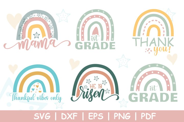 Boho Rainbow SVG Bundle, Boho Rainbow Clipart, SVG Cut Files