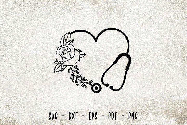 Floral Stethoscope SVG, Stethoscope SVG Cut File