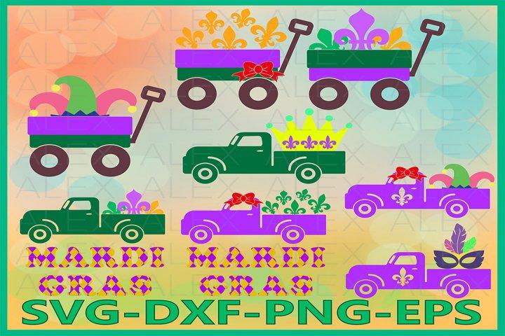 Mardi Gras SVG, Truck Mardi Gras svg, Fleur De Lis Svg