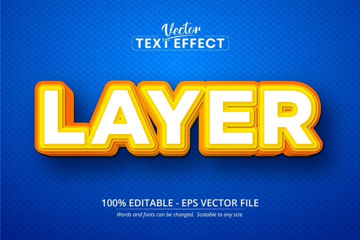 Layer text, cartoon style editable text effect