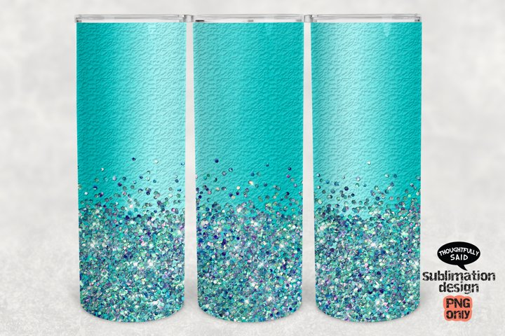 Turquoise Glitter 20 ounce Skinny Tumbler SUBLIMATION png