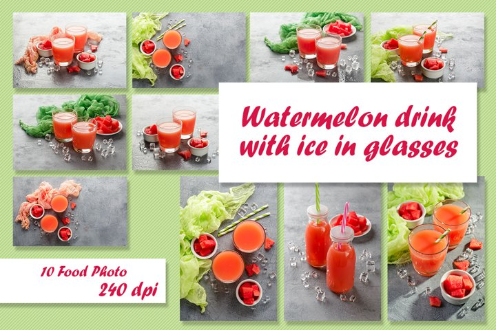 Watermelon drink with ice in glasses