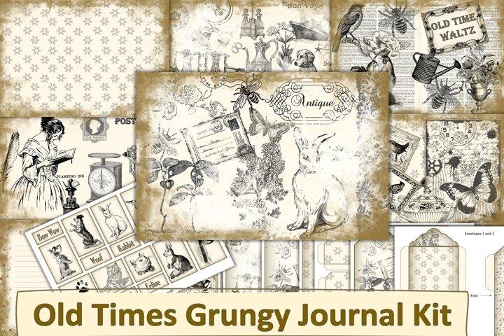 Vintage grungy Junk Journal Kit with Ephemera JPEG PDF PNG
