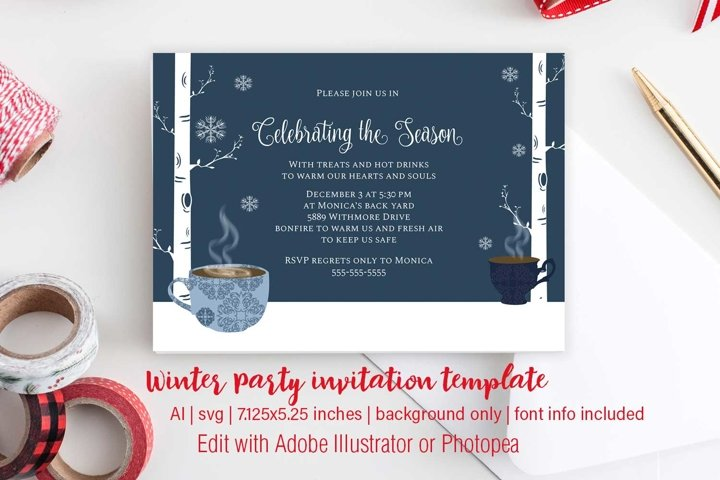 Winter Christmas party Invitation template