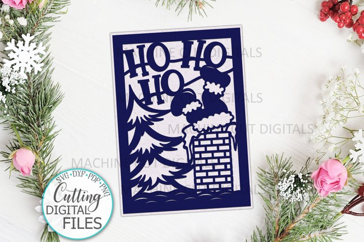 Santa Christmas card papercut svg laser cut cricut template