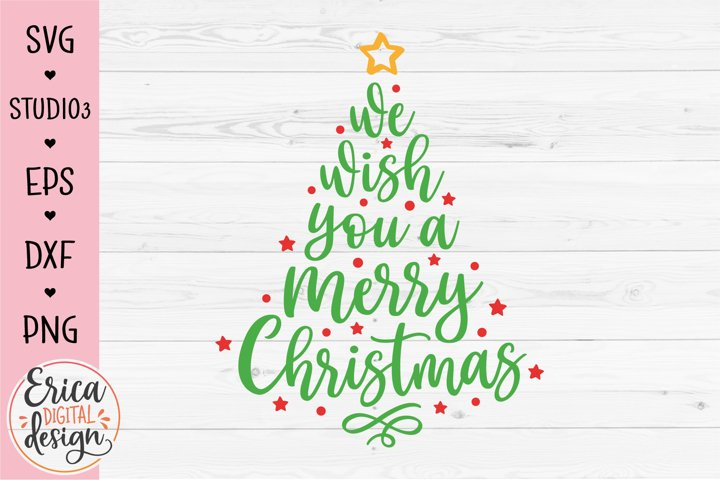 We wish you Merry Christmas SVG cut file Hand lettered tree