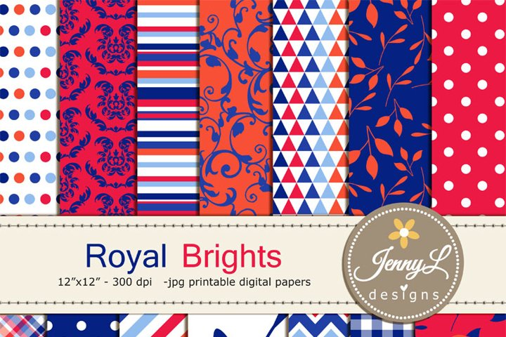 Royal Blue Floral Brights Digital Papers, Flowers, Bright Red ranunculus Flower