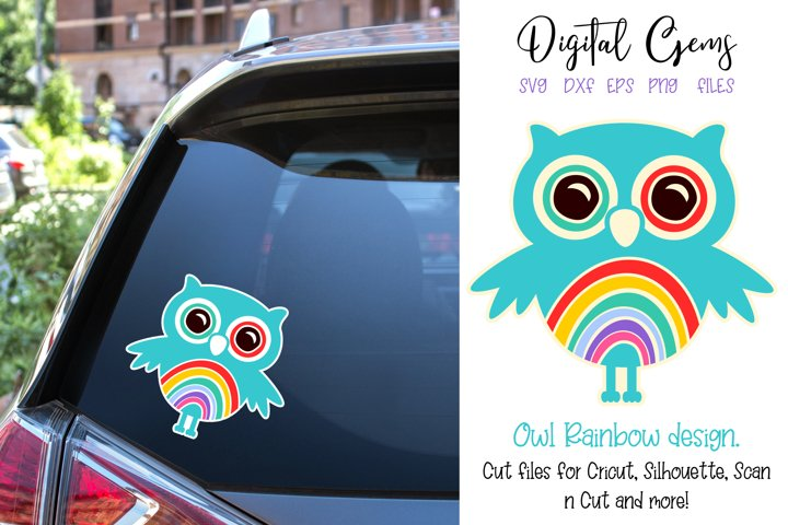 Owl, Rainbow design SVG / DXF / EPS / PNG