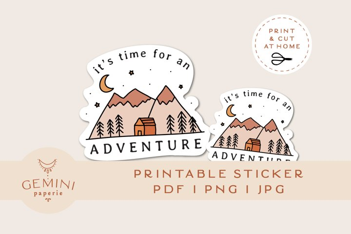 Printable Sticker   Adventure Print & Cut Sticker for Cricut