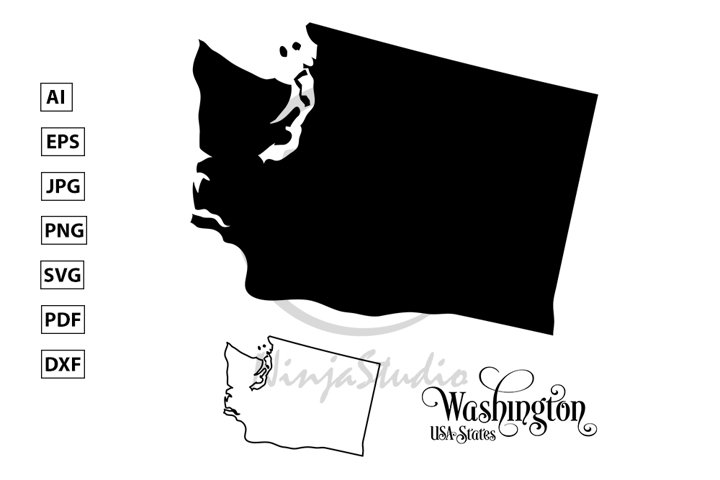 Map of The United States of America. USA State of Washington