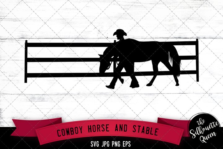 Cowboy Horse and Stable Fence Svg Cut File