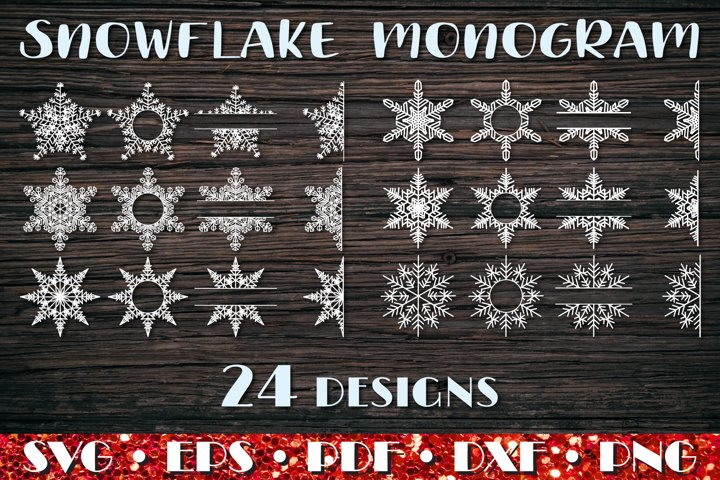 Snowflake Monogram, Winter SVG