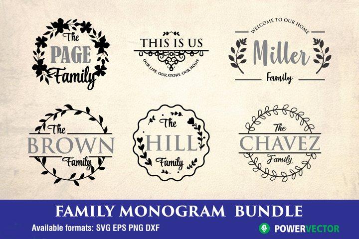 Family Name Monogram Svg Bundle, Porch Sign SVG