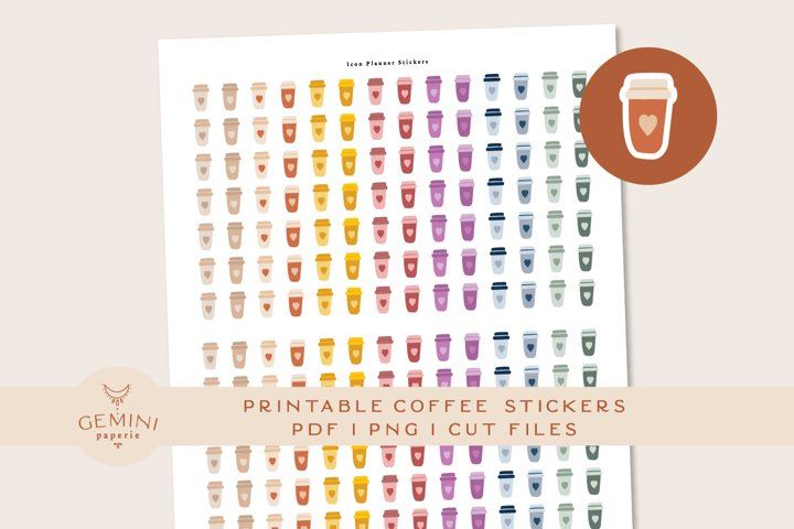 Coffee Icon printable Stickers for Planner