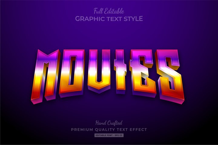 Movies 80s Retro Gradient Editable Premium Text Effect