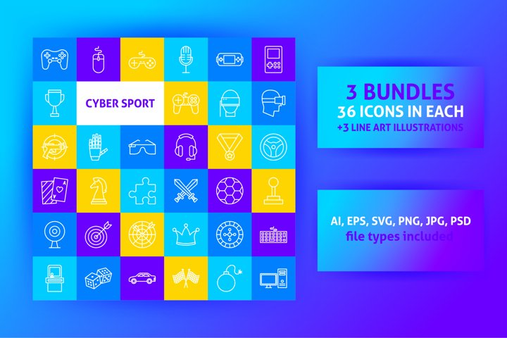 Cyber Game Line Art Icons