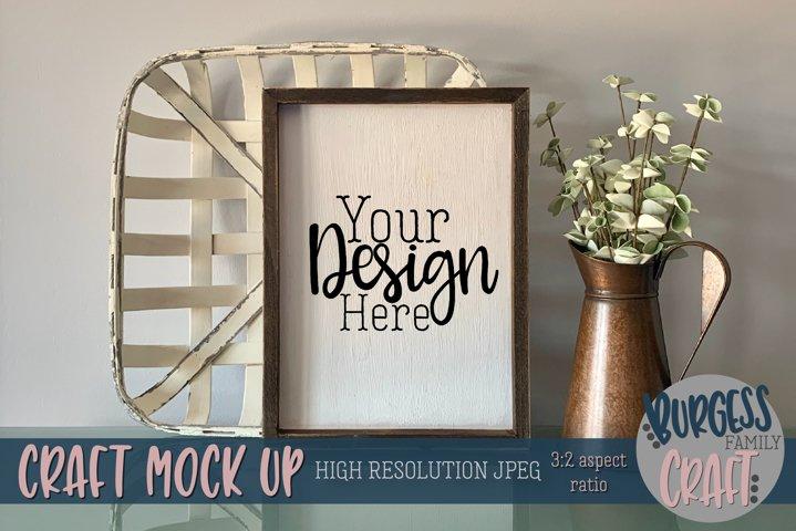 Vertical rustic basket sign Craft mock up | High Res JPEG